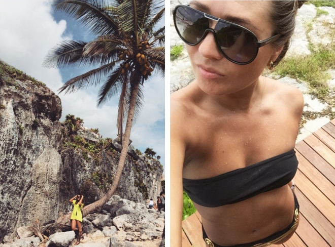 rocky shores of tulum and bikinis on the beach