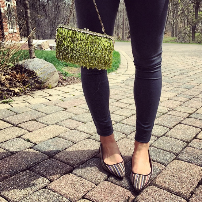 sparkly beaded purse and manolo flats