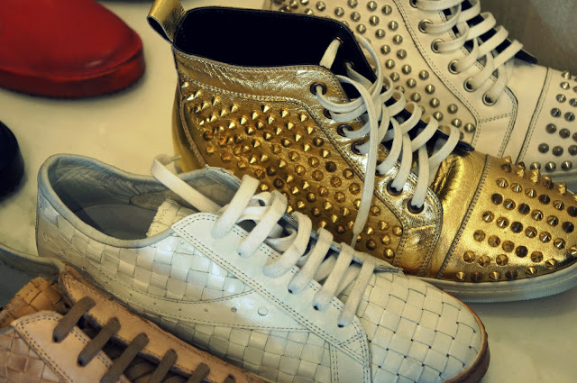 gold studded high tops in hollywood
