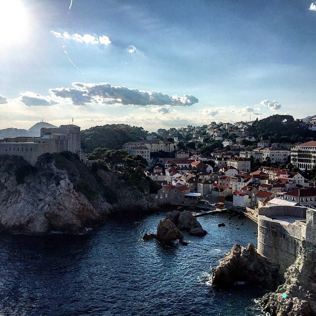 Beautiful sunrise in the Mediterranean seaside town of Dubrovnik