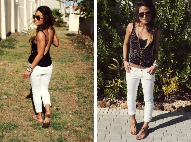 black and white boho fashion