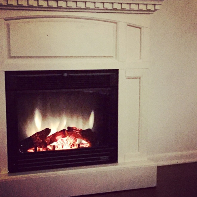 fireplace burning in winter