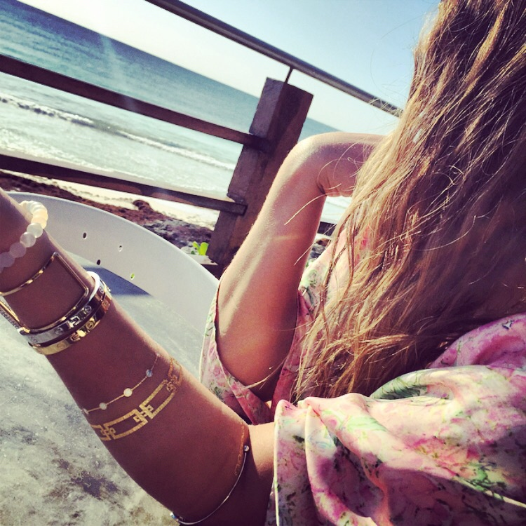 bohemian beach style with metallic tattoos