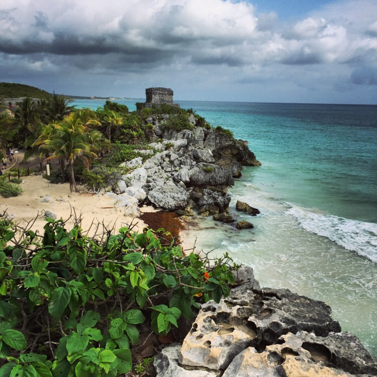 tropical rocky shores of tulum mexico
