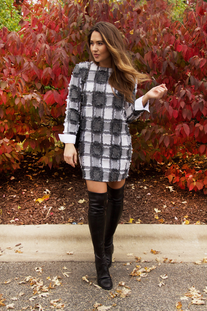 chanel dress with stuart weitzman boots