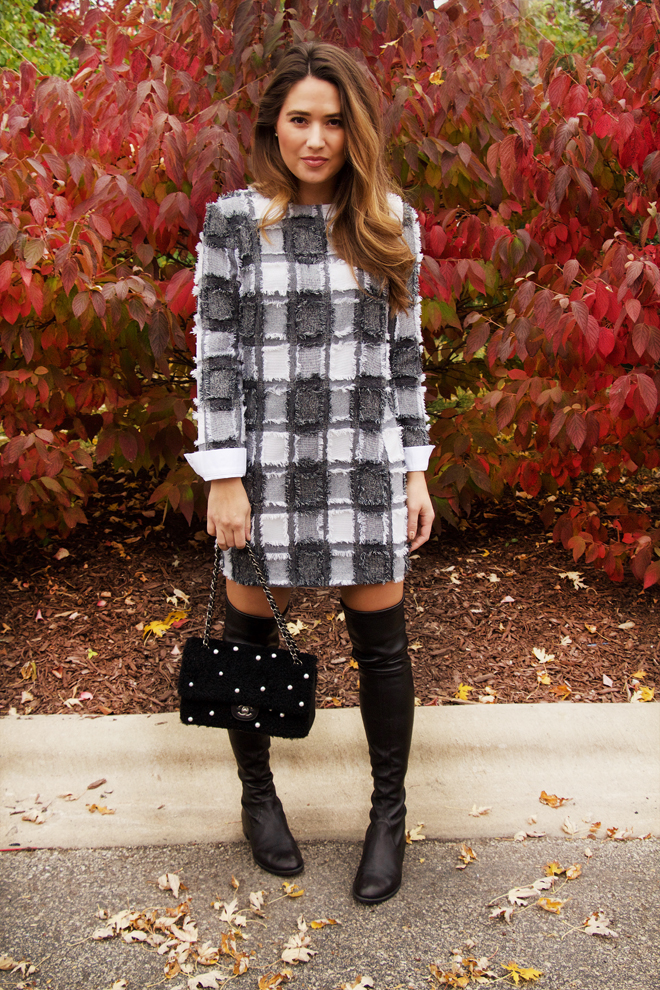 plaid dress with chanel purse perfect fall day outfit