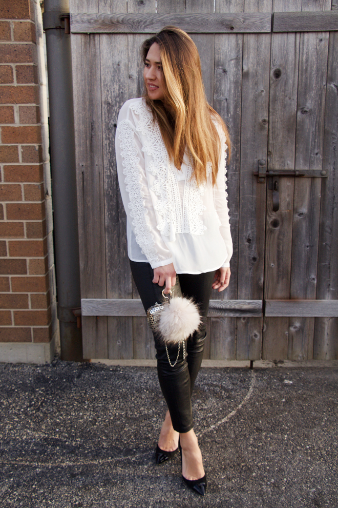 white detail lace blouse with leather pants and classic pumps