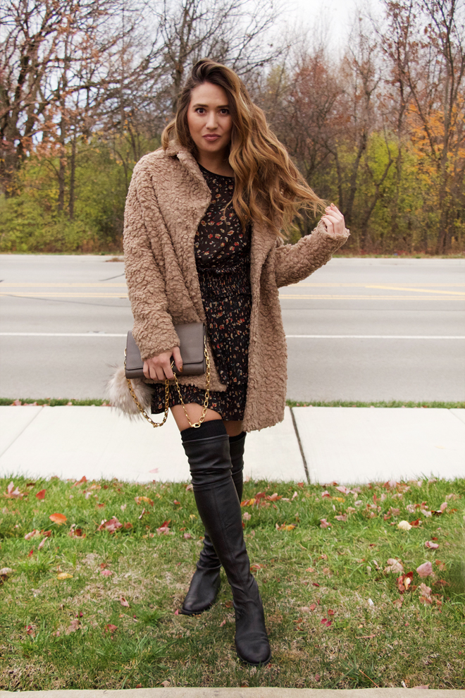 cute little dress with boots and jacket