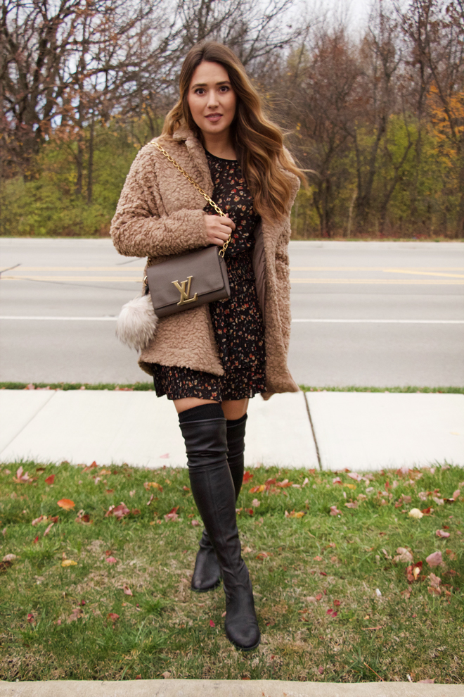 fuzzy coat, over the knee boots and mini dress