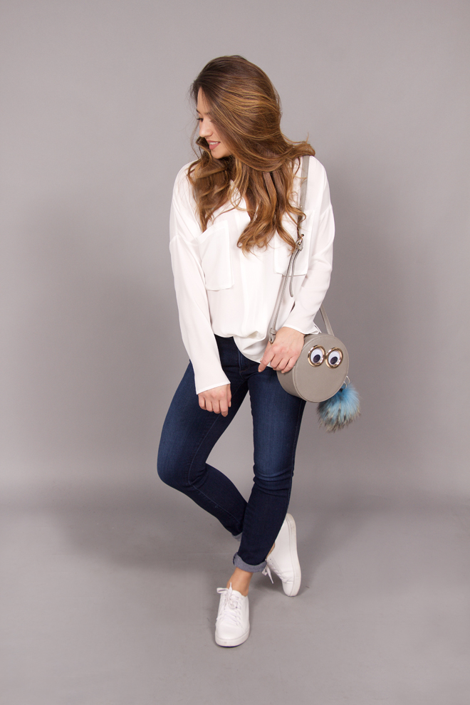 chill and chic outfit denim and tee with statement purse