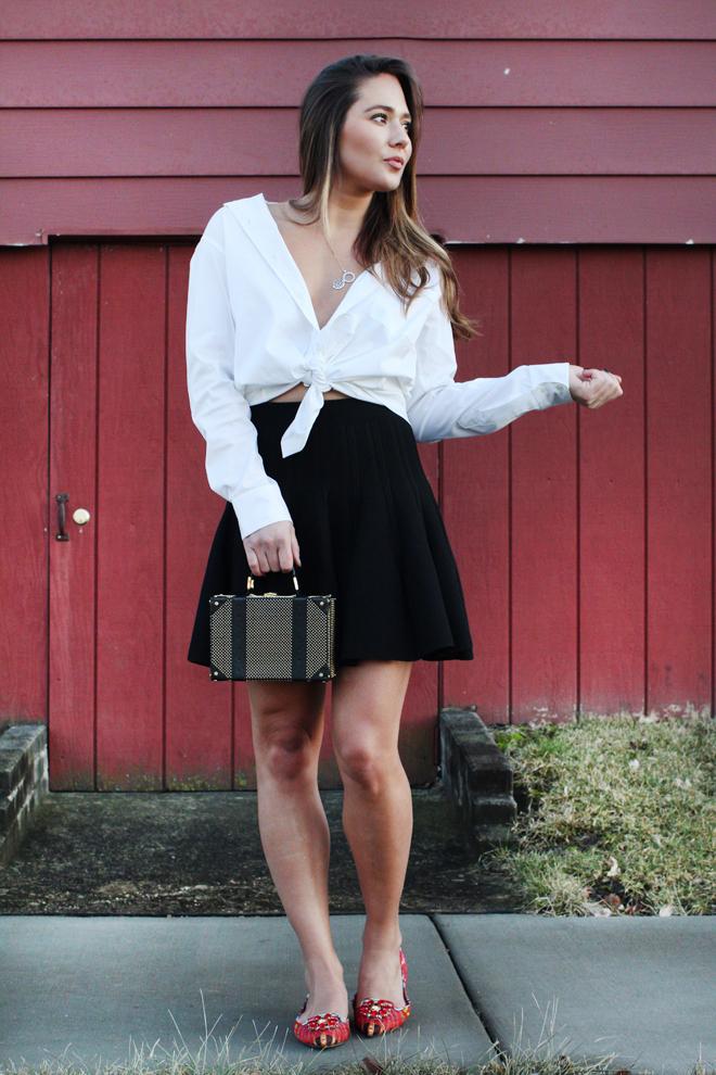 high-waisted-skirt-and-white-shirt-2