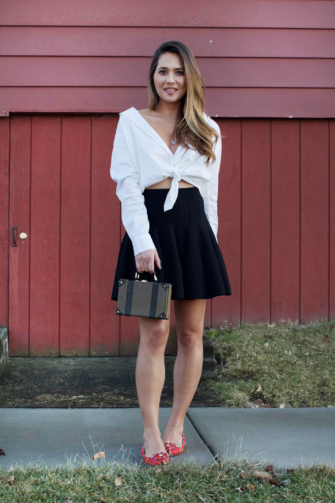 skirt-and-button-down-shirt-combo