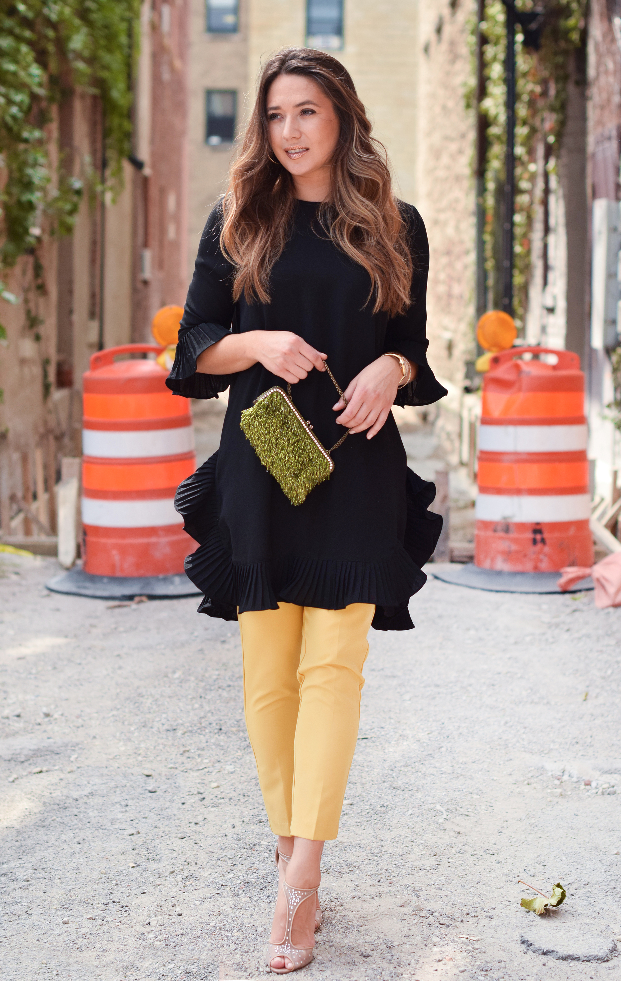 yellow-pants-black-dress-colorblock-outfit
