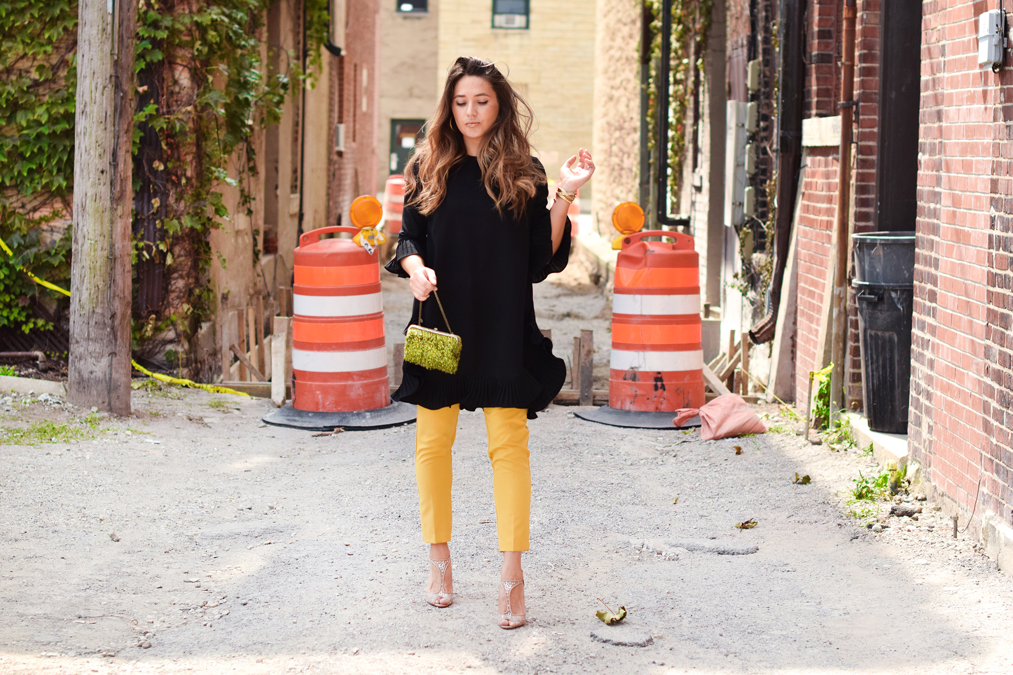 mustard-slacks-black-dress