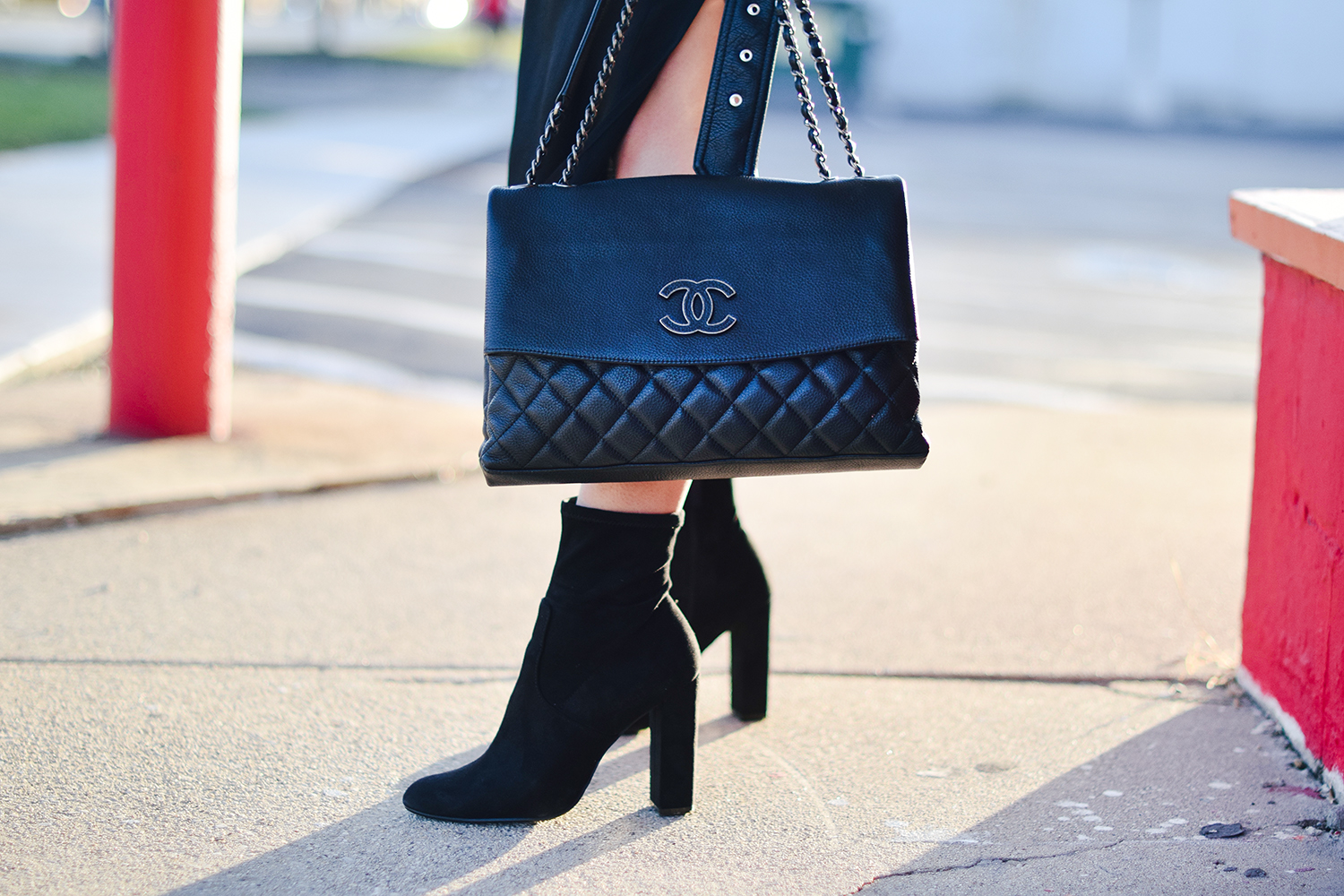 chanel-purse-black-suede-booties