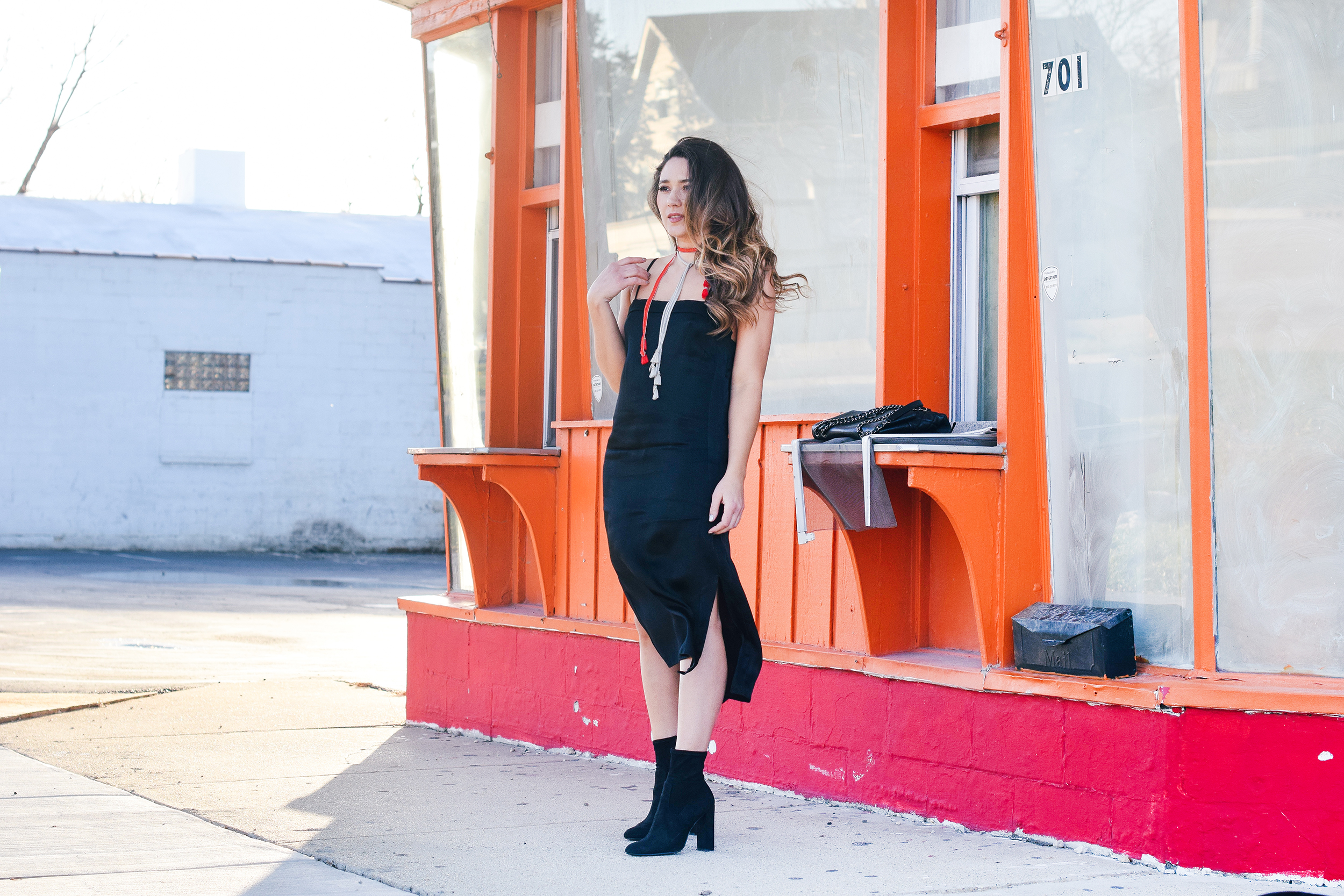 cute-outfit-black-slip-dress-side-slit