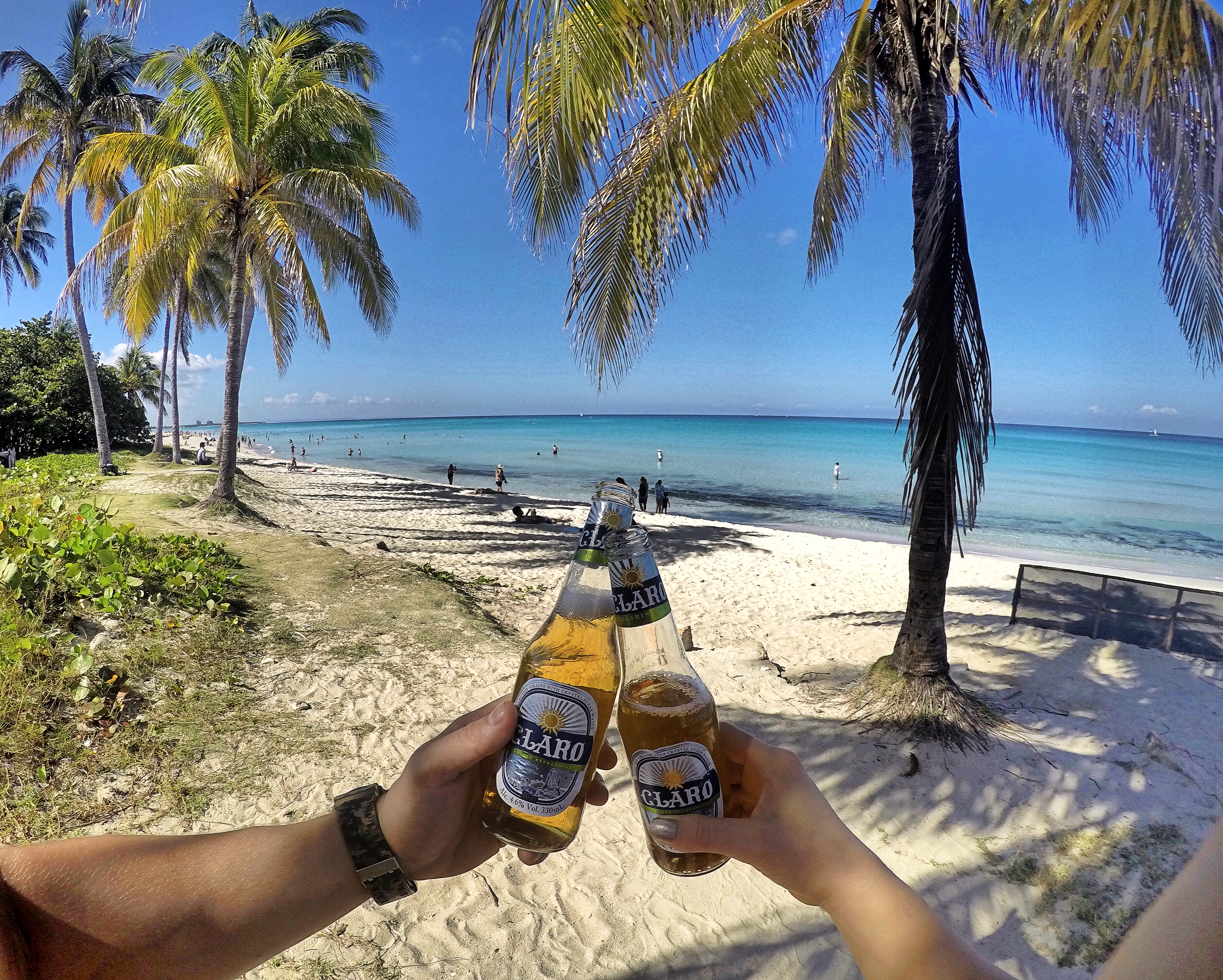 cheers-beer-cerveza-claro-beach-playa-paradise-varadero
