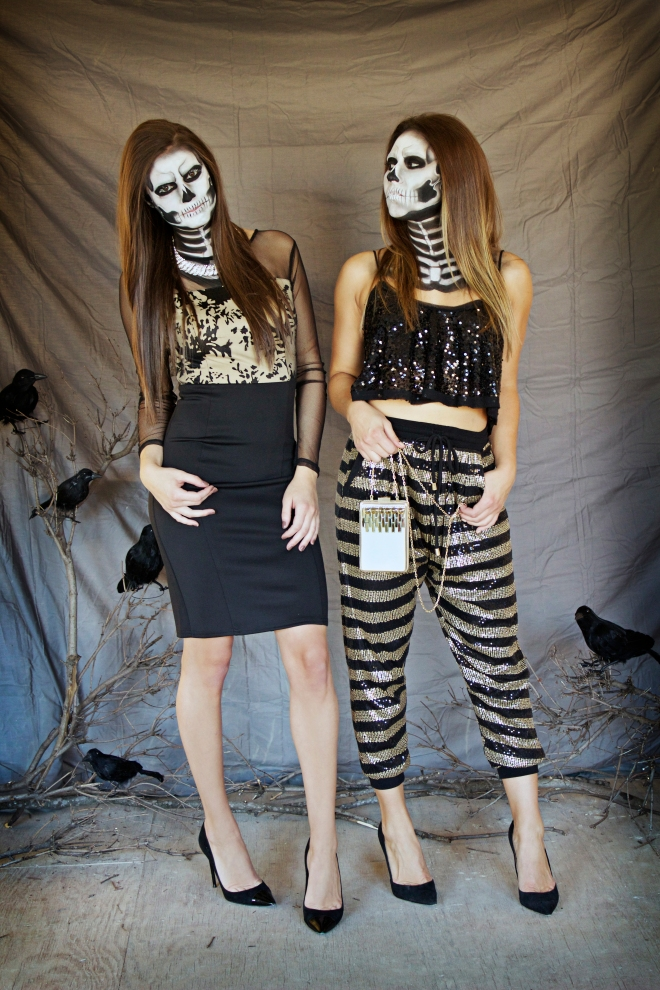perfect-halloween-outfit-skeleton-sisters-alex-faction-makeup