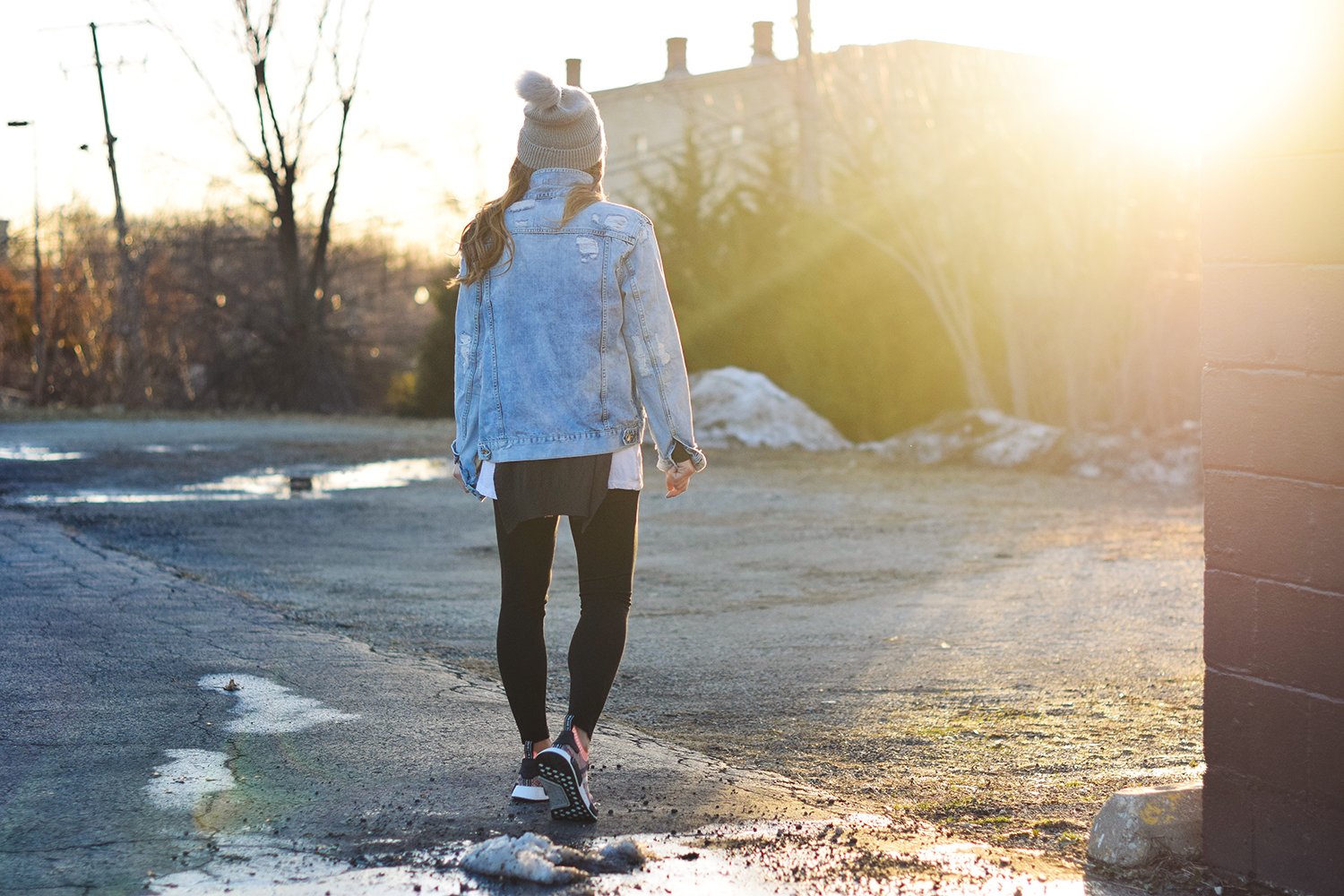 cool-shot-girl-walking-sunset-denim-jacket
