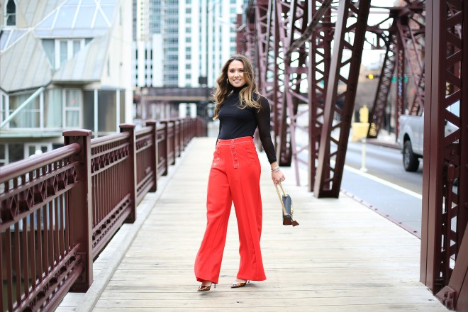 red-trousers-cute-pants-black-top-cheetah-shoes-pointy-toe